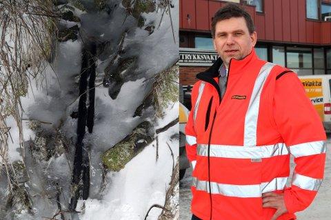 UGUNSTIG: Bildet til venstre viser en godt synlig og frossen vannledning på privat grunn. Per H. Olsen (t.h.) i Høytrykksvakta ser med bekymring på en vinter der telen kryper nedover og minusgrader og lite nedbør er gjennomgangsmelodien.