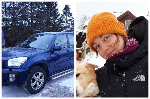 TYVERI: Amalie Hofmeyer Andersen håper at bilen snart kommer til rette.