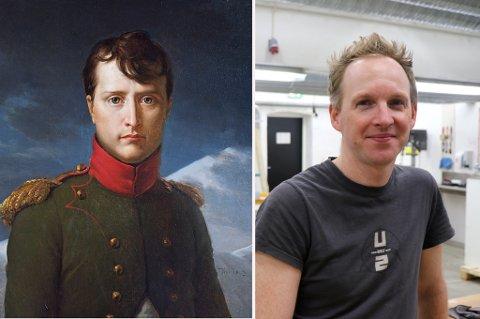 KJENT SLEKT: Jérémie McGowan sammen med sin tipp-tipp-tipp oldefar Napoléon Bonaparte (til venstre). Først i år har slektsforholdet blitt offentlig kjent.