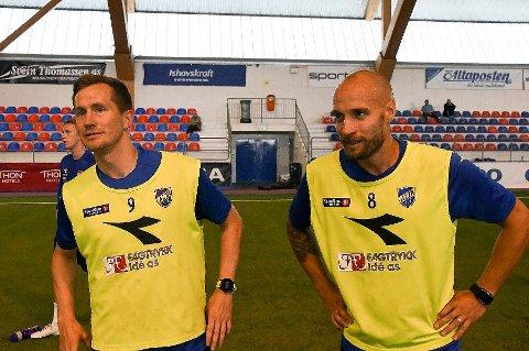 LAGKAMERATER? Mye tyder på at Tore Reginiussen (t.h) blir lagkamerat med Morten Gamst Pedersen (t.v) i Alta IF i 2021. Duoen med 113 A-landskamper for Norge jobber sammen for å få det til.