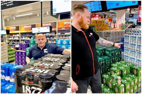 MANGEL: Mack og flere andre bedrifter sliter med boksmangelen. Også byens butikker legger merke til det. Her er salgssjef Tommy Moen på Coop Obs Jekta (t.v) og Sylvester Willumsen.