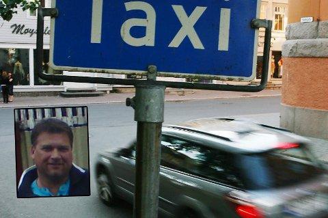 GIR SEG: Roger Nilsen (innfelt) sier opp drosjeløyven sin og trekker seg som daglig leder i Taxi Målselv. Årsaken er at han ikke klarer å tjene penger på å kjøre drosje etter at anbudet om pasientreiser gikk til en annen leverandør.