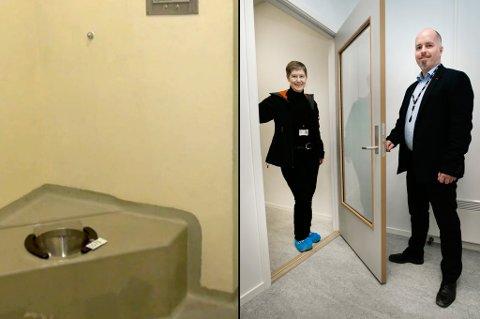 """EKSTREM OPPUSSING: Det som tidligere var Tromsø-politiets glattceller er nå blitt samtalerom tilpasset Navs behov. Her viser Oddrun Johansen og Geir Jakobsen frem en """"nøddør"""", som kan brukes til hurtig evakuering dersom Nav-ansatte føler seg truet."""