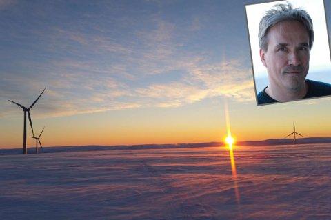 Vindturbin på Raggovidda. Innfelt: Organisasjonssjef Morten Jørgensen i Varanger Kraft. Foto: Bjarne Riesto