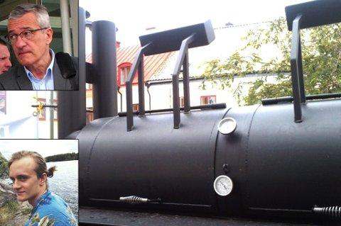 """Her er de store bbq-grillene til Benulic & Co., såkalte """"smokers"""",  i aksjon på Gotland. Foto: Privat/Rune Endresen"""
