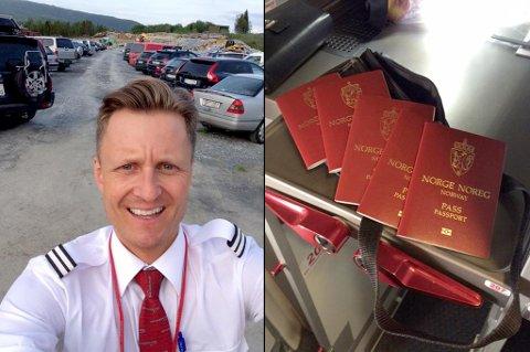 OPPDRAG UTFØRT: Her er kabinsjef Geir Magne Madsen på vei tilbake til Norwegian-flyet etter å ha funnet passene i familiens bil på Evenes lufthavn.