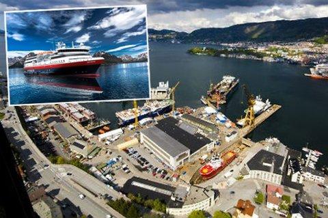 """Noryards skal være blant verftene som vurderer å levere tilbud på bygging av nytt ekspedisjonsskip til Hurtigruten. Innfelt skisse av hvordan Hurtigrutens siste anskaffelse, MS """"Norway Explorer"""", skal se ut etter ombygging."""