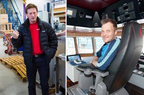 Oppfinner Asbjørn Larsen (t.v.) og Delitek stevnet fiskebåtreder Mikal Solhaug for patentbrudd. Nå har Delitek trukket saken, og må betale Solhaugs saksomkostninger.