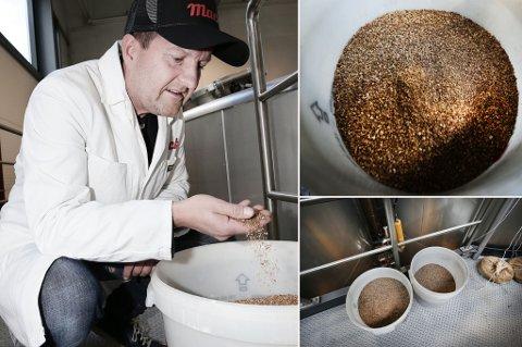 Macks toppsjef, Harald Bredrup, kjenner på ingrediensene som skal inn i den store kjelen. Foto: Torgrim Rath Olsen