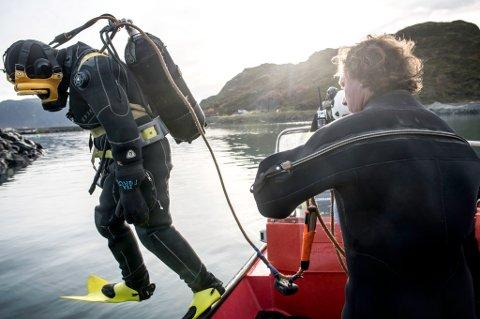 HOPPER UTI: Philip Hågensen på tur i vannet for å sjekke mudringen.