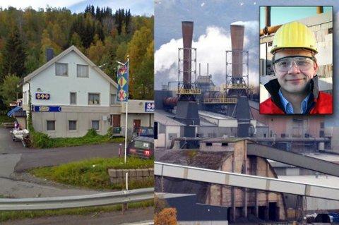 NABOER: Mens Finnfjordbotn Storkiosk har stabile rammebetingelser, er Finnfjord AS prisgitt internasjonale konjunkturer. Innfelt Geir Henning Wintervoll, administrerende direktør ved smelteverket.