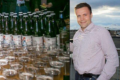 NYTT ØL: Den nye ingrediensen er grønn te. Innfelt: Roger Karlsen, kommersiell direktør i Mack.