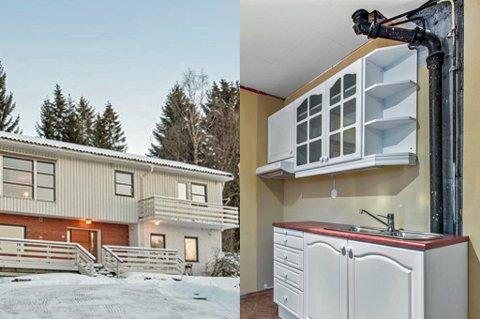 Eneboligen på Berg har en kjøkkenkrok i første etasje, og et større kjøkken i andre.  Kjøkkenet i første etasje er avbildet på bildet. Huset har behov for modernisering, men det stoppet ikke budgiverne. Foro: Eie Eiendomsmegling