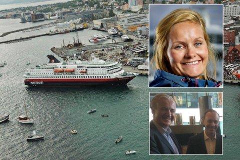 Hurtigruten ved kai i Tromsø. Innfelt: Asta Lassesen (finansdirektør). Innfelt 2: Representanter for de nye eierne.