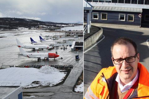 REISER MYE: Det er mye trafikk til og fra Tromsø lufthavn. Innfelt: Jonny Andersen, sjef for nasjonale lufthavner i Norge.