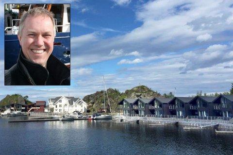 STOR UTBYGGING: Reiselivsanlegget Hamn i Senja med 135 varme senger. Innfelt: Ole-Henning Fredriksen i Hamn Eiendom