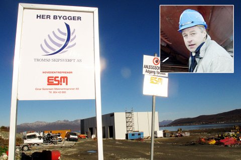I FULL GANG: Tromsø Skipsverft bygger nytt på nordøya i Tromsø. Innfelt: Daglig leder Åge Jonny Hansen.