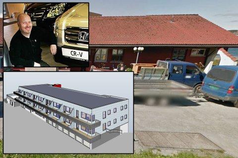 BYGG OG BIL: Traasdahl Eiendom as planlegger å bygge 18 leiligheter. Innfelt: Bjørn Cato Traasdahl.