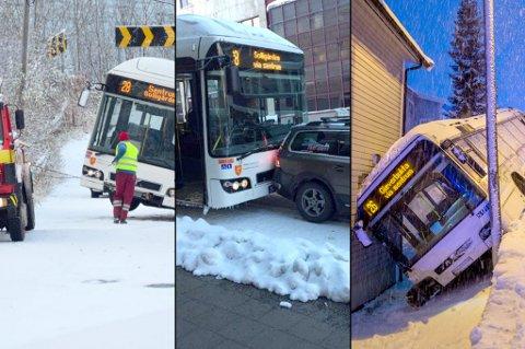 VINTERFØRE: Nobina har store utfordringer på vinterføre i Tromsø.