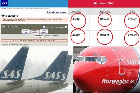 Norwegian har ingen ledige billetter fra Tromsø på torsdag, fredag, lørdag og søndag. SAS har stappfulle fly fredag og lørdag og noen billetter av høy prisklasse på torsdag og søndag.