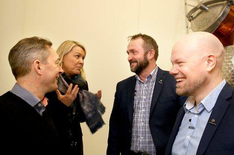 OMVISNING: Europaminister Frank Bakke-Jensen (H), næringsminister Monica Mæland (H), gründer Tor Petter W. Christensen og gründer Hans-Olav Holtermann Eriksen.