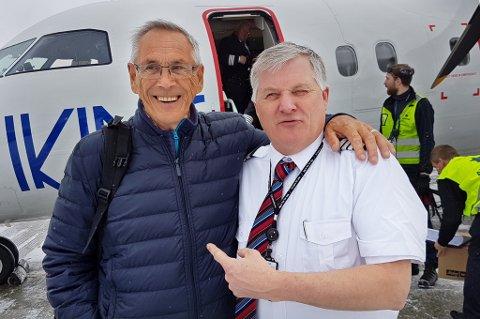 BLE LÆRT OPP AV GIÆVER: Knut Iversen er ivrig flyentusiast og ble lært opp av Ola Giæver. Mandag morgen var han med på første tur med Giævers nye flyselskap.