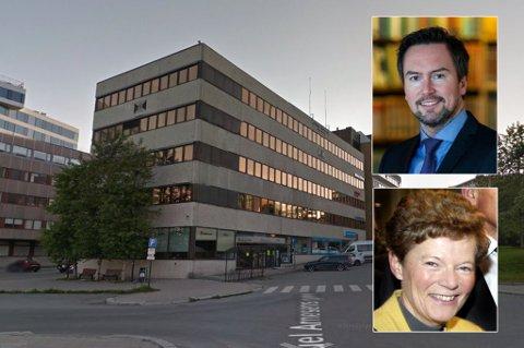 LEDIG ETASJE: Odd Berg-bygget på Roald Amundsens plass 1. Innfelt: Direktør Erlend Sundstrøm og arbeidende styreleder Benedicte Berg Schilbred.