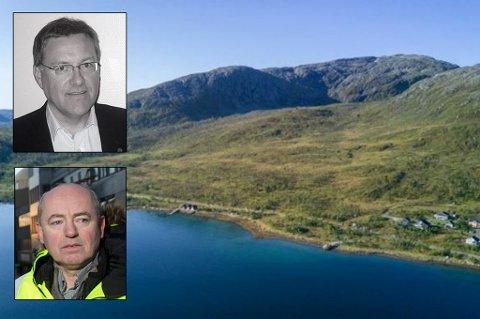 HER ER DET MULIG Å BYGGE: Tor Arne Antonsen og Morten Willumsen har planer for å utvikle reiselivsanlegg i Kvaløyvågen.
