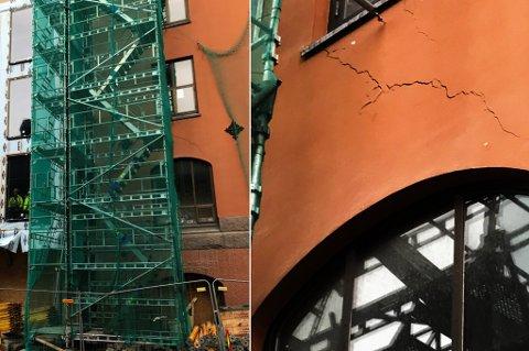 SPREKK: Fasaden til rødbanken sprekker opp.