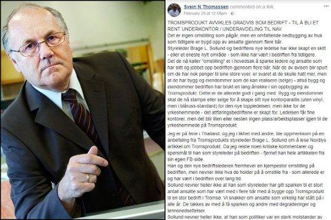 KRITISK: Eks-direktør Svein Thomassen langer ut mot den nye ledelsen i Tromsprodukt.