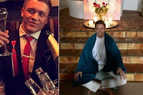 DA OG NÅ: Nå rører Andreas Joki Arild knapt alkohol. I hans nye liv er meditasjon en helt sentral del av hverdagen.