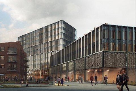 """SLIK SKAL DET BLI: Oslo Works har tegnet """"Plattgatter"""" - prosjektet som vant arkitektkonkurransen for å bli det nye hotellet i den nye bydelen Vervet."""