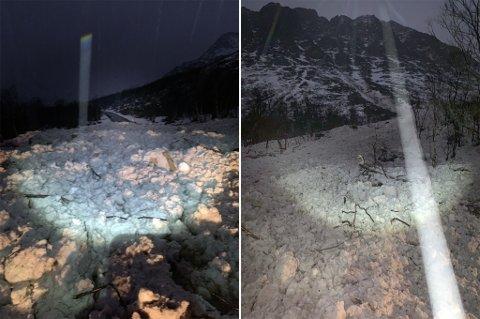 Til venstre er skredet som har gått over veien, til høyre fjellet det kom fra.
