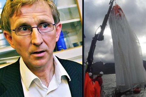 Gunnar Rørstad er administrerende direktør i Calanus AS. Til høyre: Selskapets luseskjørt.