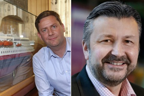 KLINSJ: Daniel Skjeldam i Hurtigruten mot Stein Arild Steen-Mevold, direktør for Scandic Hotels i Norge.