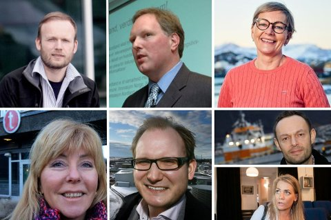 REAKSJONER: Espen Sirnes, Erlend Bullvåg, Liv Ulriksen, Synnøve Søndergaard, Daniel Bjarmann-Simonsen, Torgeir Knag Fylkesnes og Sandra Borch.