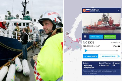 FORBINDELSER TIL TROMS: Første bilde er fra en gasselekkasje med Onega ved Tromsø skipsverft. Andre bilde viser fartøyets posisjon da det sank med 19 mannskap ombord.