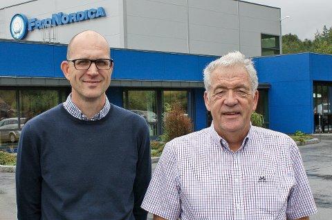 FORNØYDE: •Ketil Røberg, salgs- og markedsdirektør for marine og industri i PTG og Per Johansen, vice president sales i PTG Frionordica, er fornøyde med kontrakter for levering av isanlegg ved SalMars storsatsing InnovaNor i Lenvik.