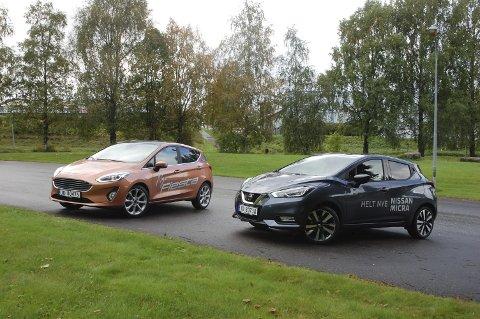 DET TRYGGE OG DET SPENNENDE: Nye Fiesta eller nye Micra? Det blir en tett kamp mellom Ford'en og Nissan'en i vår småbilduell.FOTO: ØYVIN SØRAA