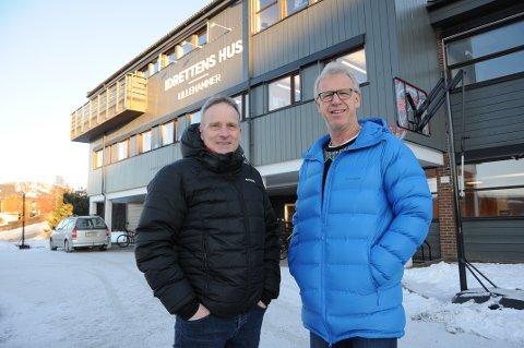 Tore Stubrud (t.v) og Tom Svellet mener samlokaliseringen med NTG og Olympiatoppen Innlandet betyr mye for Oppland idrettskrets.