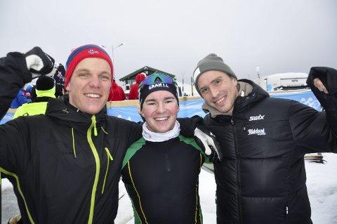 Hjemmesuksess: Gjermund Nilsen (f.v.), Ørjan Staff og Karstein Johaug imponerte med sjetteplass NM-stafetten på hjemmebane. Foto: Rune Pedersen