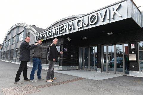 Anders Solberg (f.v.), Allan Granum og Bent Spernes flytter Storquizen fra Gjøvikhallen til Campus Arena i høst.