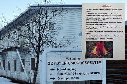 NEI TIL MIDDAGSGJESTER: Helle Rolstad ønsker å spise julemiddag sammen med sin mor på Sørbyen sykehjem slik hun har gjort i alle år, men hun er ikke velkommen til det, viser julebrevet.