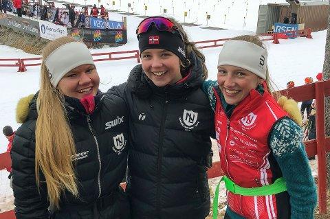 Nordre Land-jentene Mathilde Nordeng, Sara Granvang Tronrud og Lene Jøranli hadde grunn til å smile etter lørdagens sprint på Liatoppen.