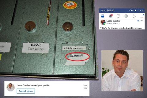UBESVART: Øverlier skriver i et facebook-innlegg at OA ikke har kontaktet ham på hans foretrukne e-postadresse. Han lar meldingene på sosiale medier stå ubesvart, selv om han har sett dem.