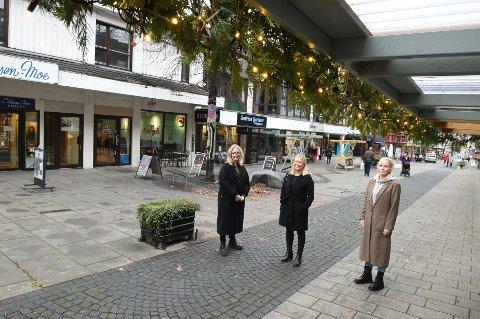 BYEN ER TRYGG: F.v fungerende ordfører, Anne Bjertnæs, Line Kildal i Byen Vår Gjøvik og Kjersti Linnerud, Samfundet mener at det er trygt å ta seg en tur på byen.