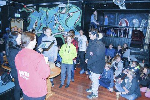 SEEKnFIND: 210 elever fra Haugjordet ungdomsskole deltok på årets Seeknfind. Her fra premieutdelingen onsdag.