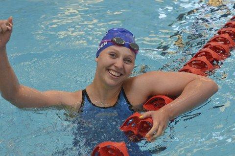 Til wales: Grethe Tenden jubler over sitt første NM-gull for junior. Hun har tidligere drøssevis med pallplasser. Nå venter et nytt eventyr i Swansea, Wales.Foto: Vit pochman