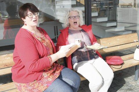 Sang skaper glede: Siri Hov Eggen fra Vestby Ap og Anne Odenmarck fra Ås Ap håper mange vil komme til Ås kulturhus lørdag ettermiddag for å synge. foto: Solveig wessel