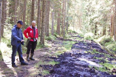 GJØRMESTI: Skogbestyrer Reidar Haugen (til venstre) og løypebas Bjørn Ekornås inspiserte traseen før arbeidet startet opp i fjor sommer.
